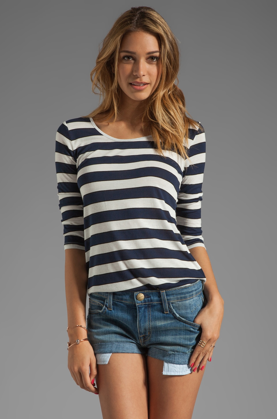 19 4t 3/4 Sleeve with Elongated Back in Navy/White Stripe/Black Piping