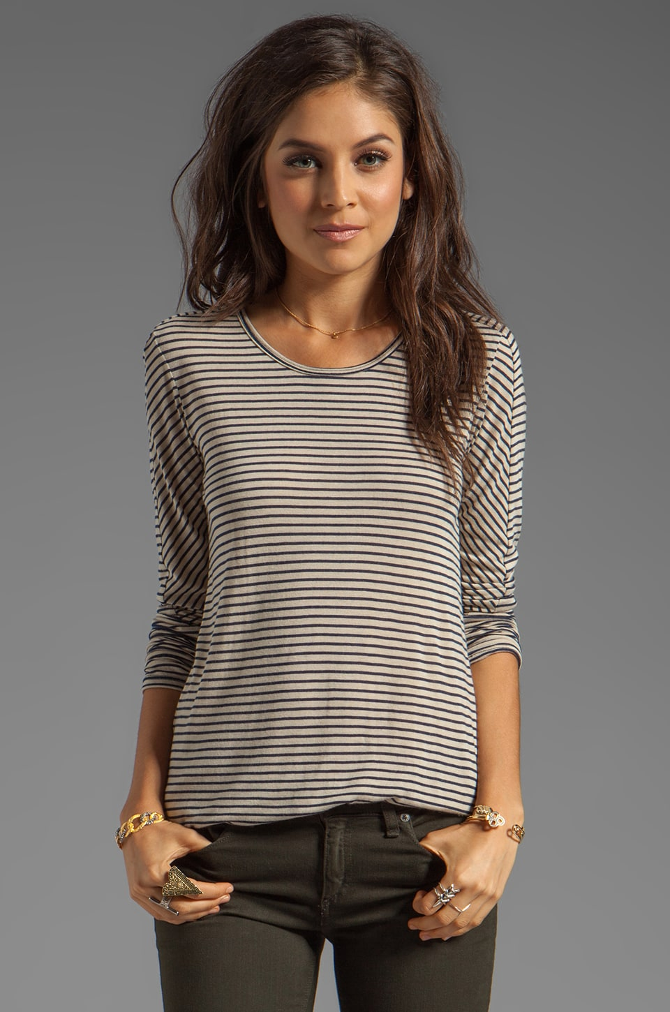 19 4t Long Sleeve Panel Tee in Navy/Beige Stripe