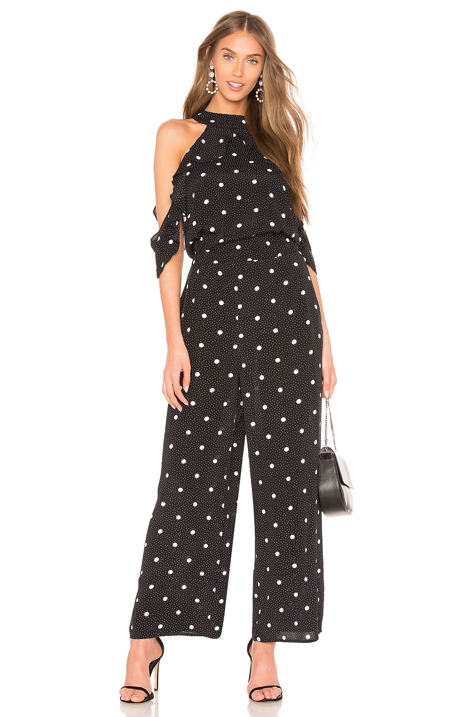 1. STATE Cold Shoulder Jumpsuit in Rich Black