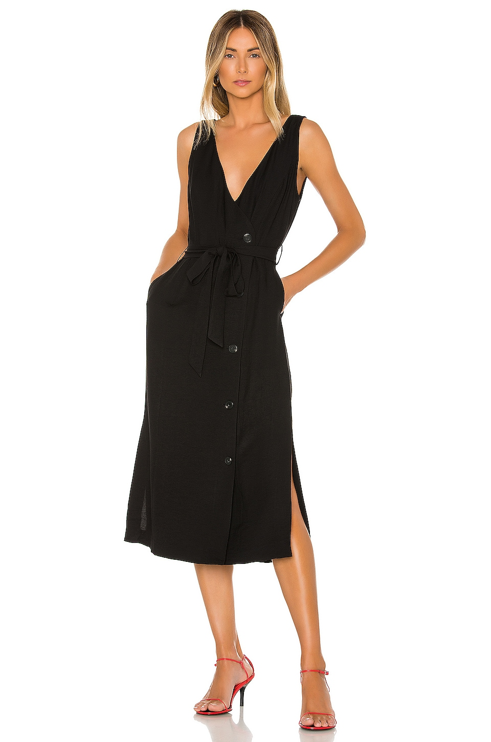 1. STATE Button Front Faux Wrap Midi Dress in Rich Black