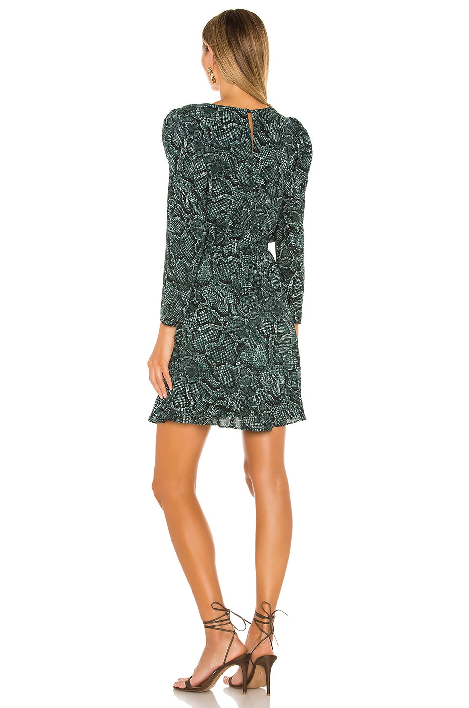 Tie Waist Snake Print Dress, view 3, click to view large image.