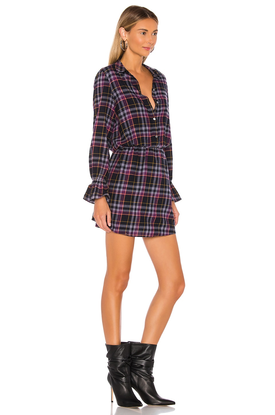Button Up Plaid Dress, view 2, click to view large image.