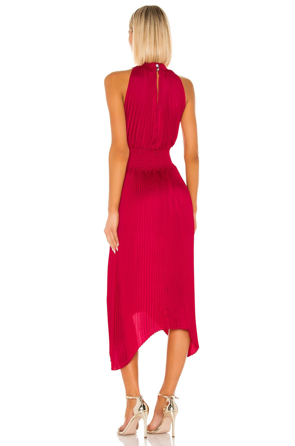Halter Pleated Dress, view 3, click to view large image.