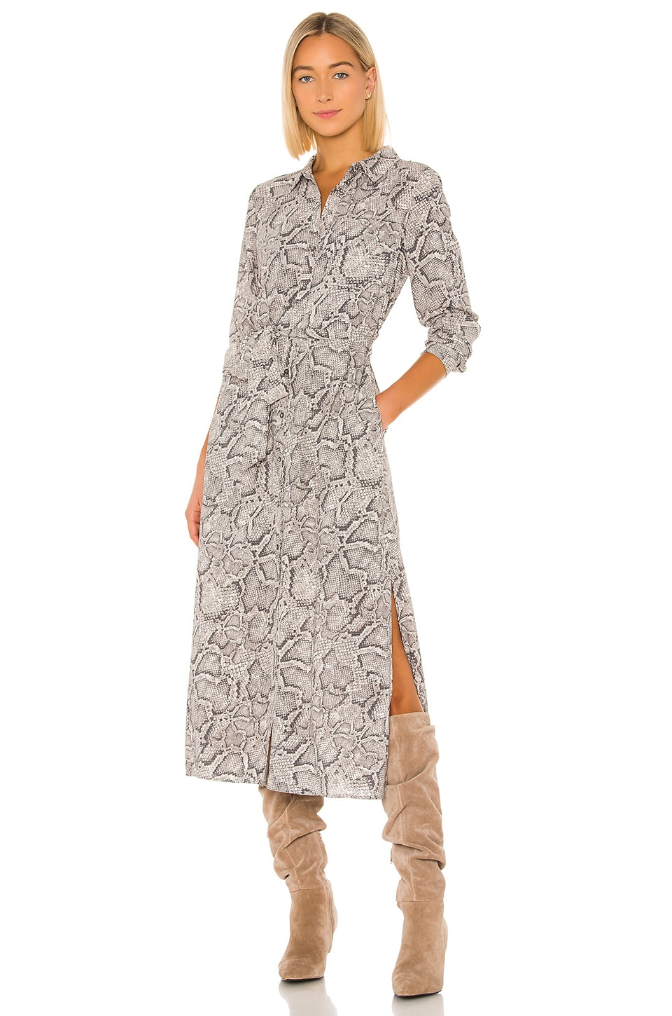 1. STATE Patch Pocket Snake Print Maxi Dress in Feather Grey