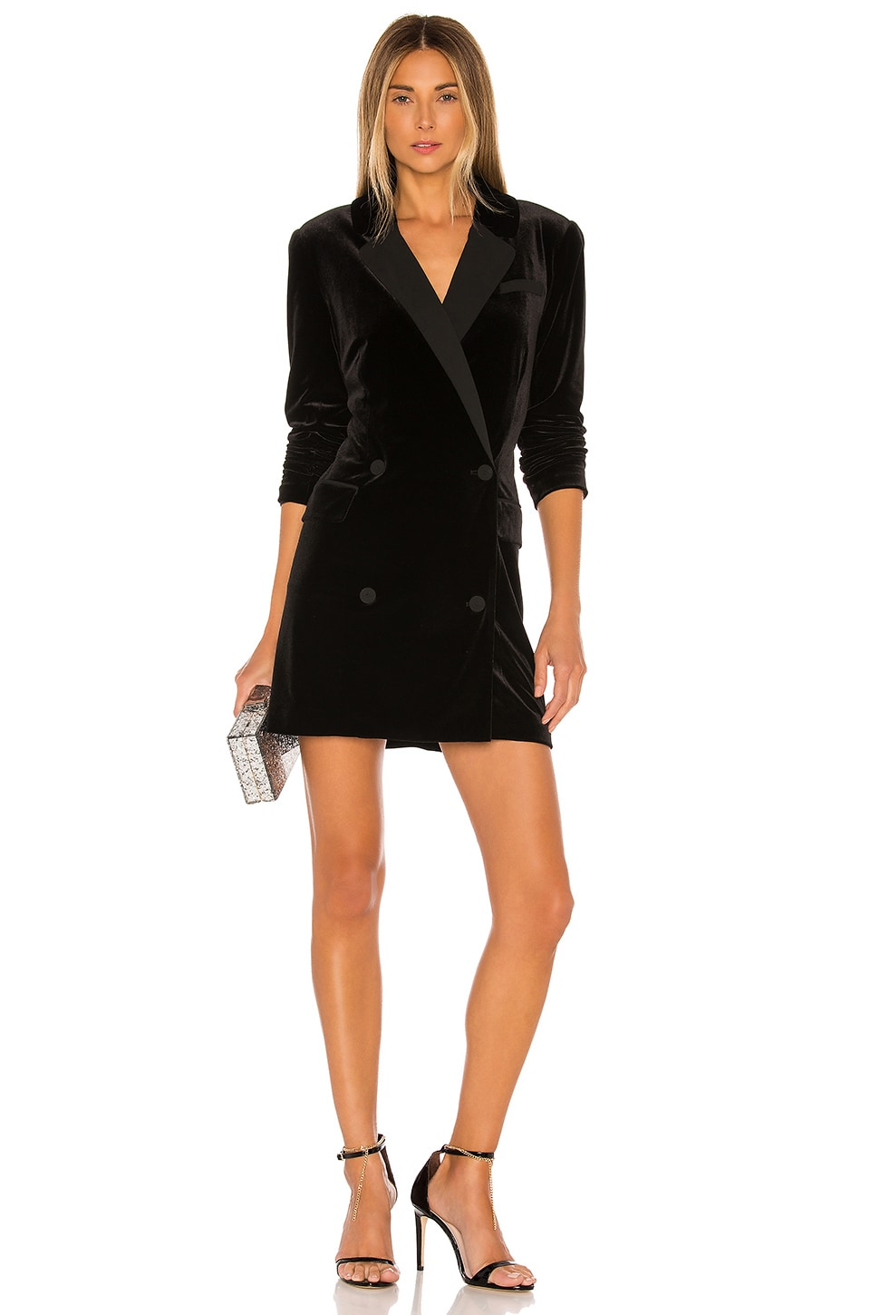1. STATE Ruched Velvet Blazer Dress in Rich Black