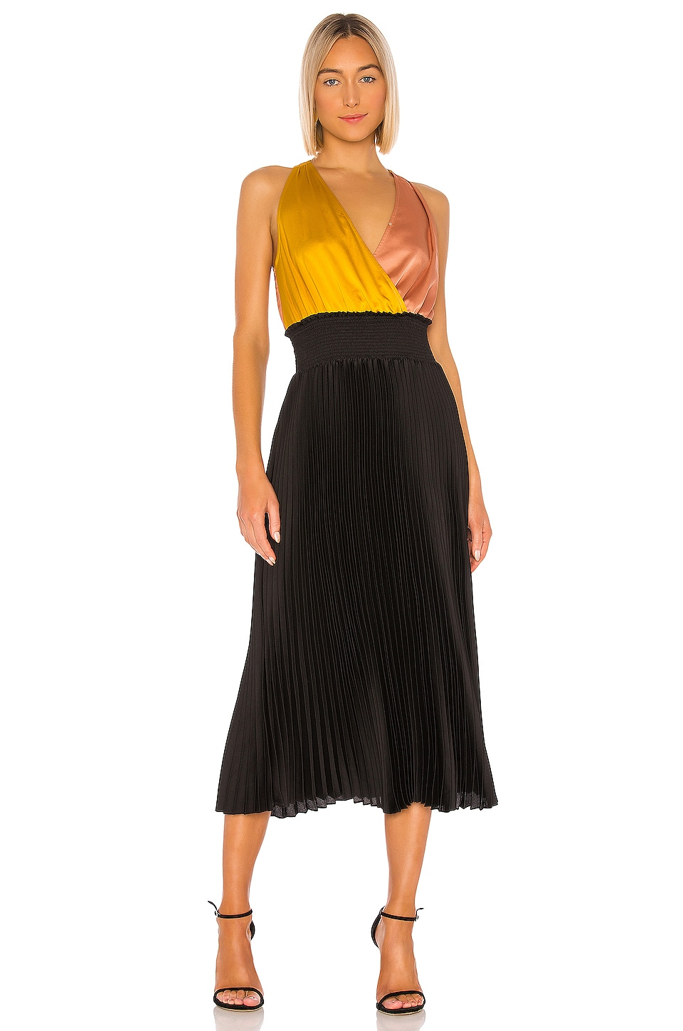 Colorblock Pleated Dress             1. STATE                                                                                                                                         Sale price:                                                                       CA$ 121.60                                                                  Previous price:                                                                       CA$ 201.31 11