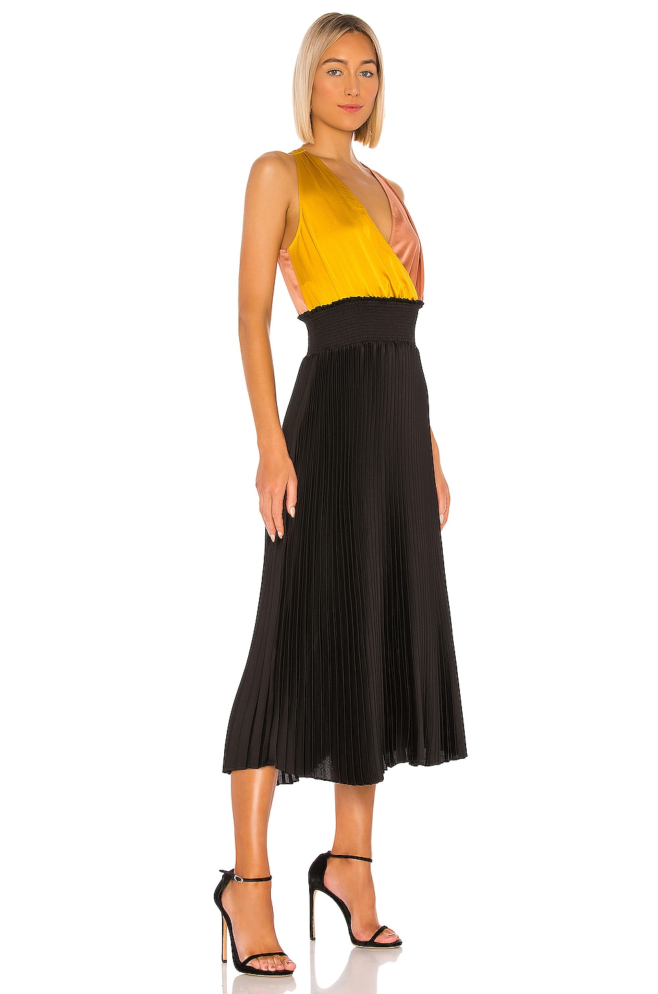 Colorblock Pleated Dress, view 2, click to view large image.