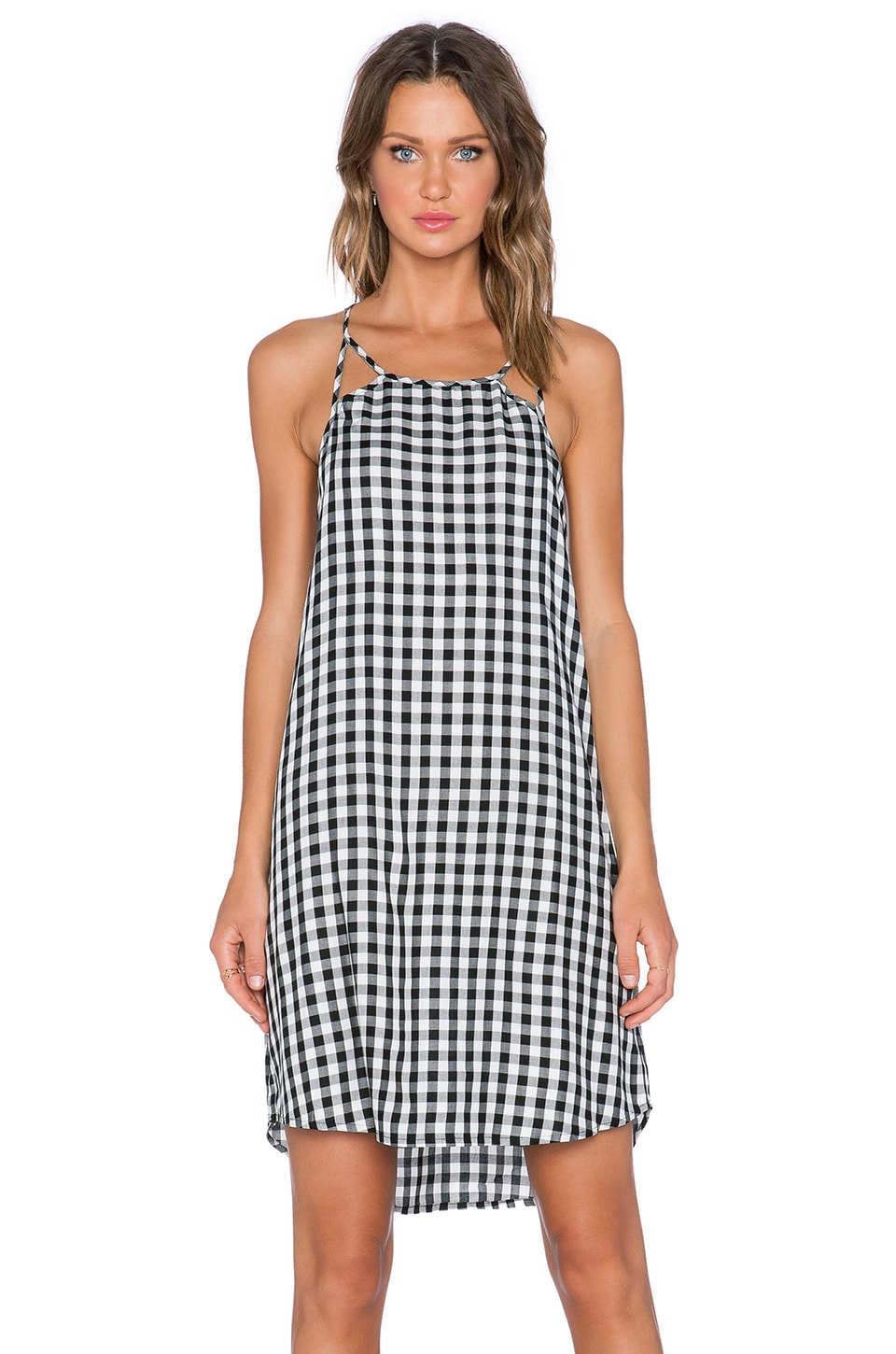 1. STATE Gingham Cut Out Slip Dress in Rich Black