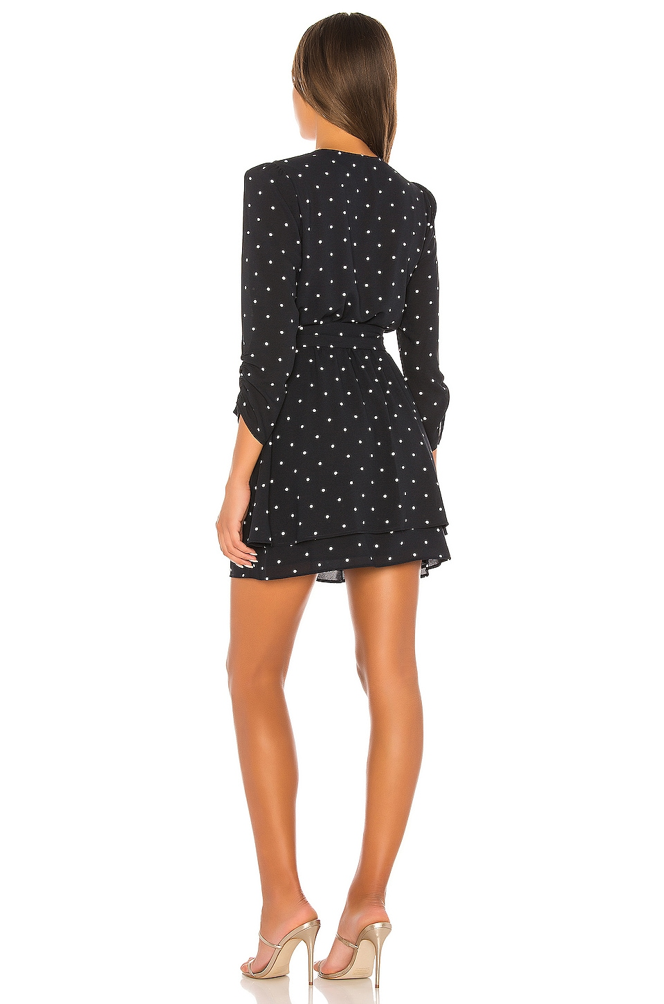 Tie Waist Moonlit Polka Dot Dress, view 3, click to view large image.