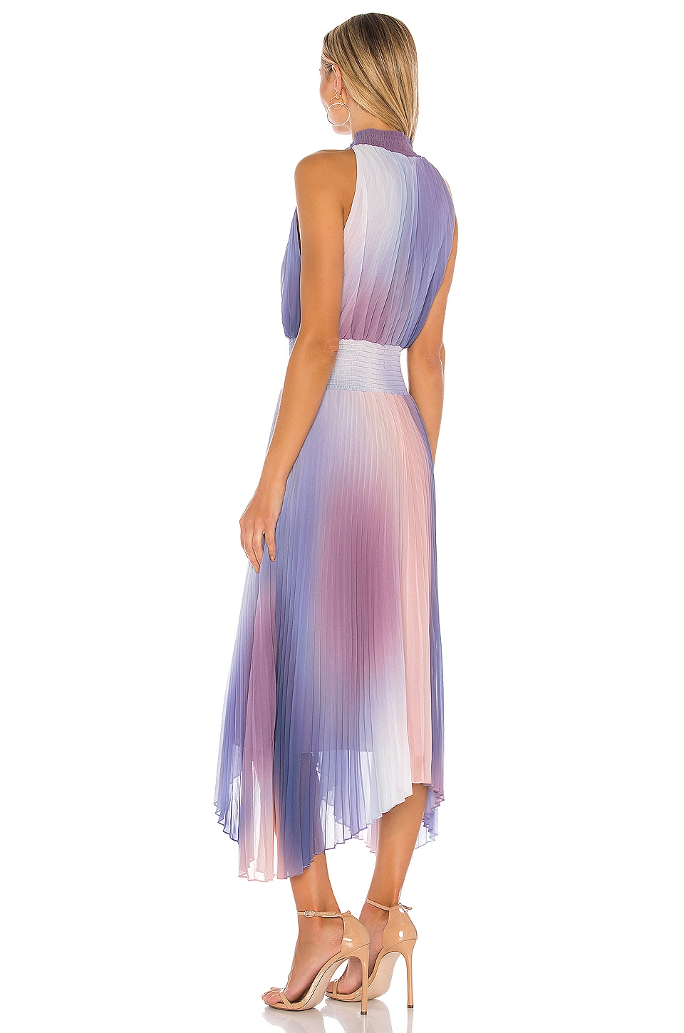 Halter Neck Pleated Midi Dress, view 3, click to view large image.