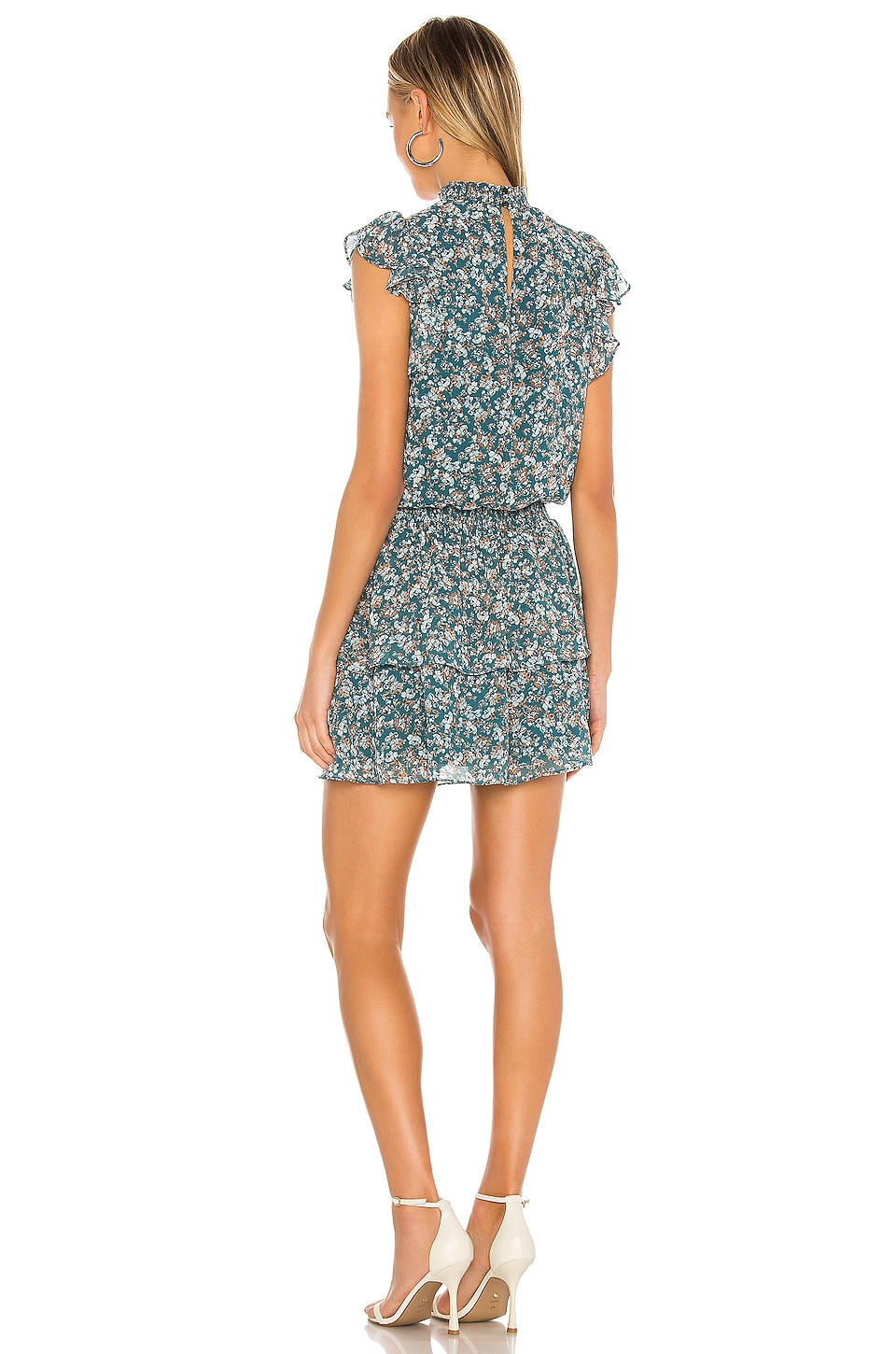 Woodland Floral High Neck Tiered Dress, view 3, click to view large image.