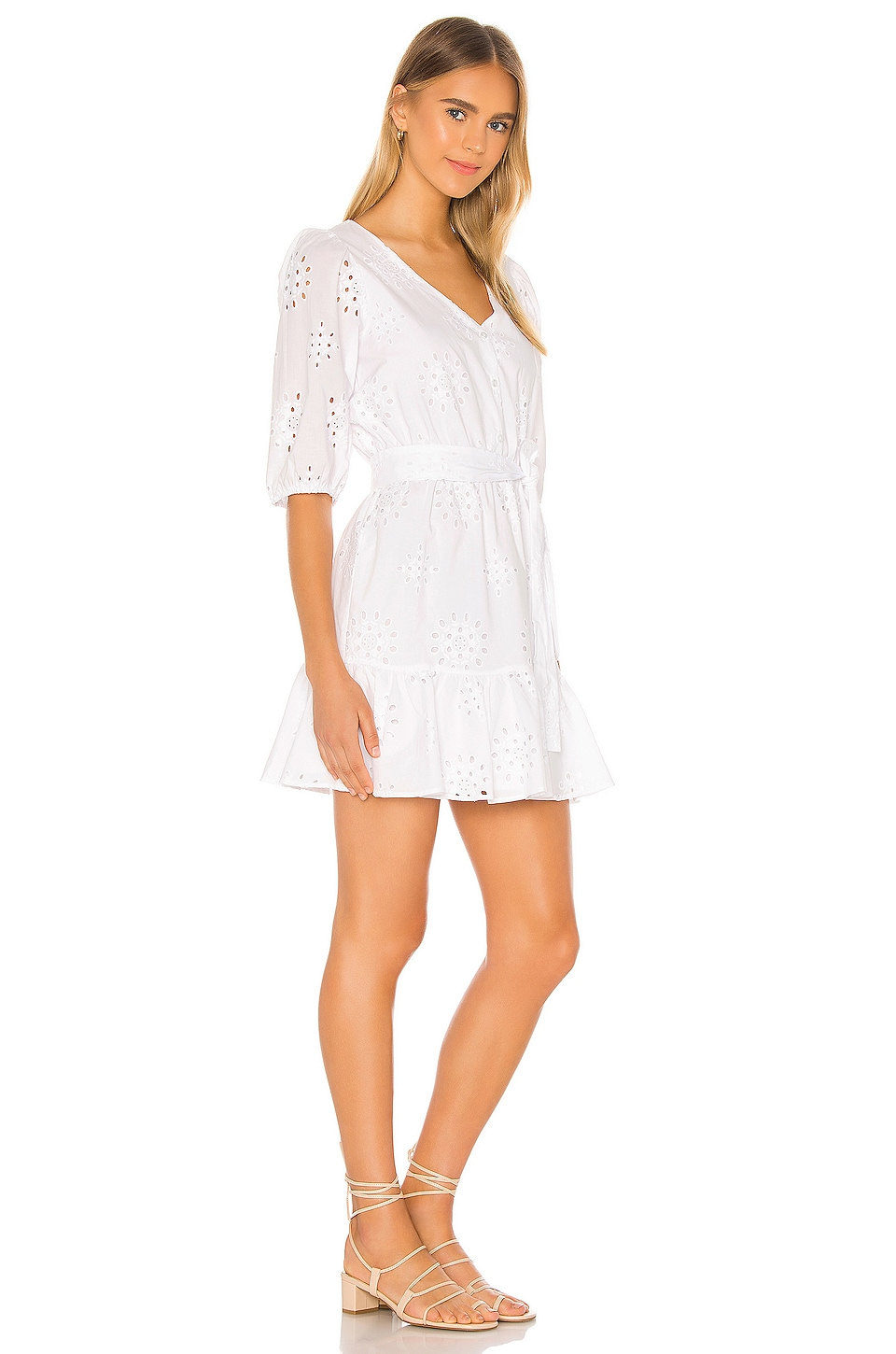Cotton Eyelet Tie Waist Dress, view 2, click to view large image.