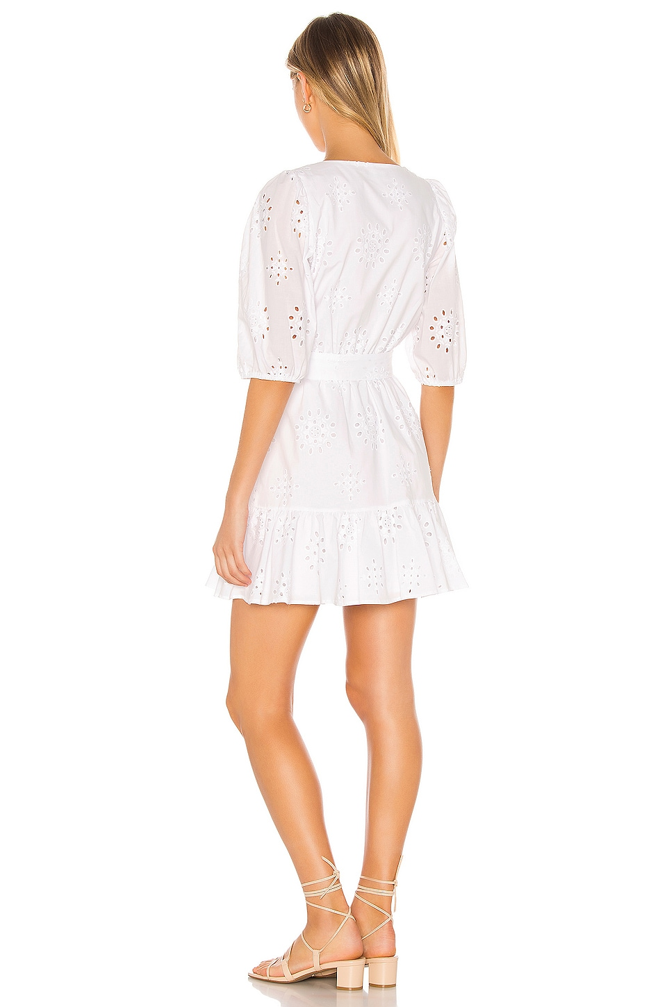 Cotton Eyelet Tie Waist Dress, view 3, click to view large image.