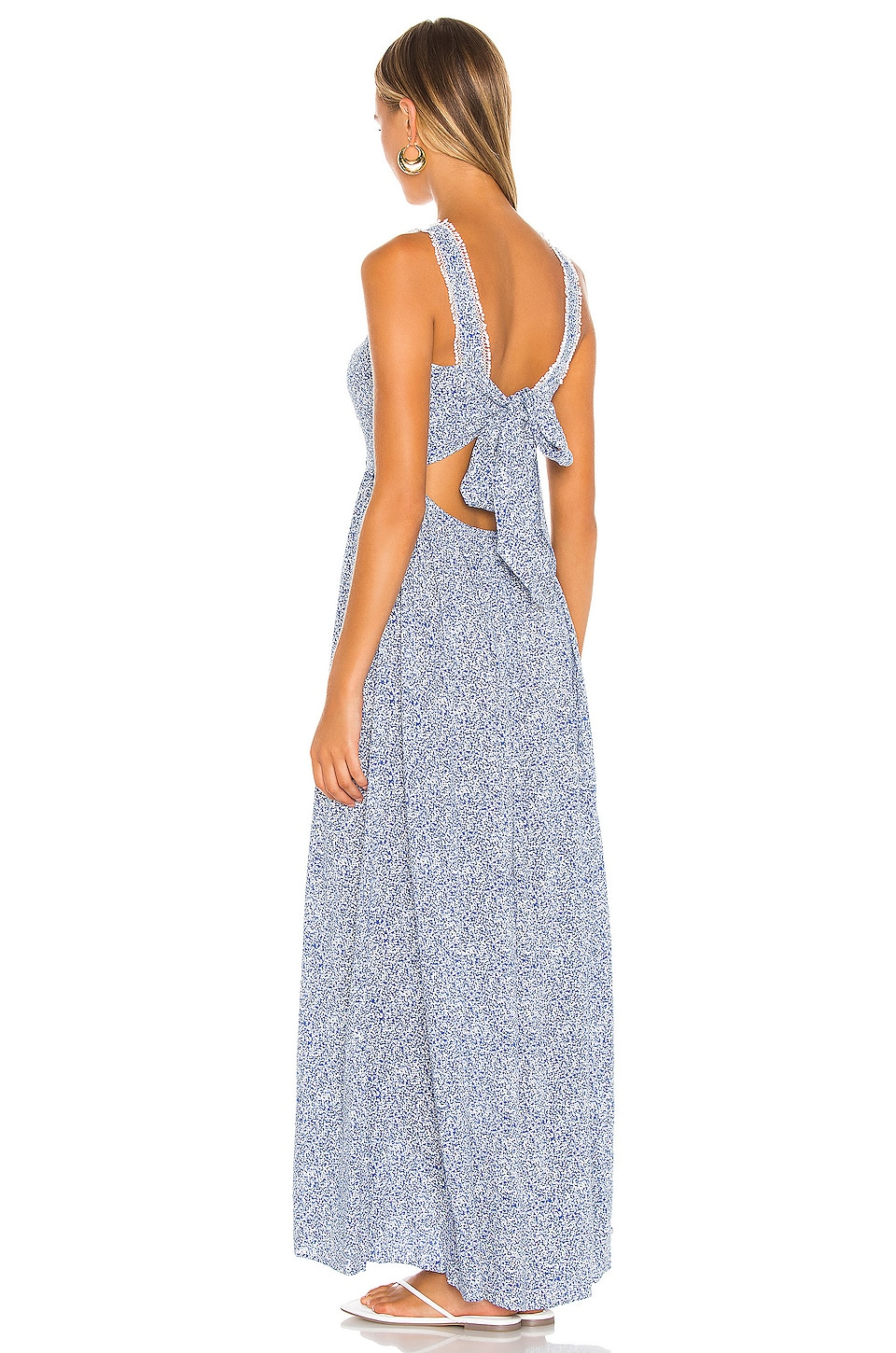 Tie Back Vintage Ditsy Maxi Dress, view 4, click to view large image.