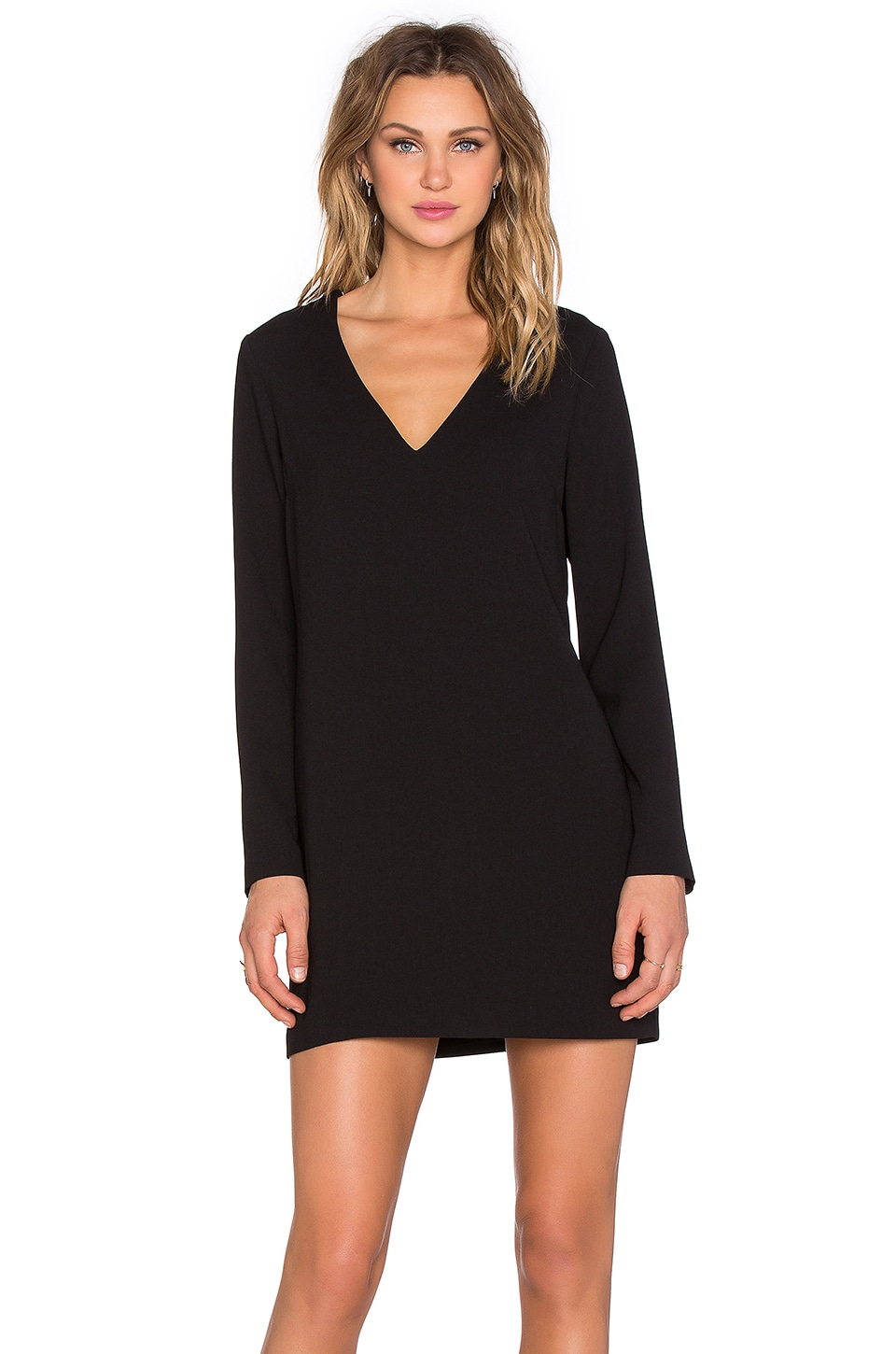 1. STATE Long Sleeve Shift Dress with Double Bar Back in Rich Black
