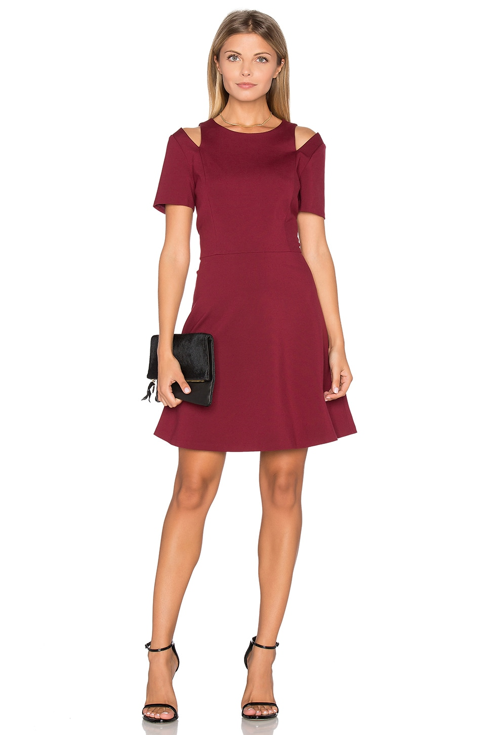 1. STATE Cut Out Shoulder Fit & Flare Dress in Wine