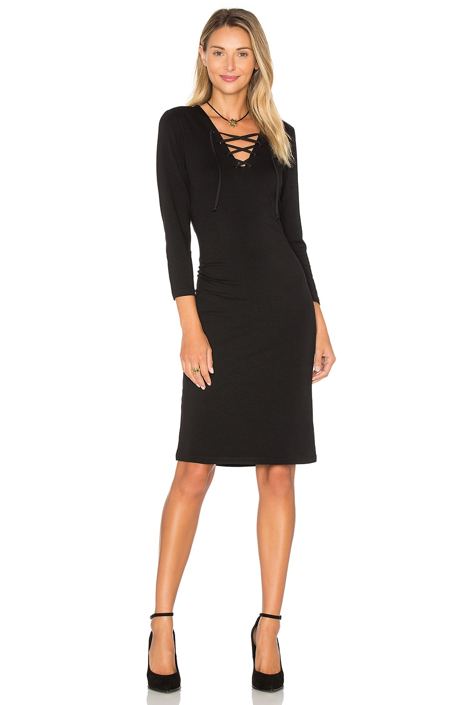 1. STATE Long Sleeve Lace Up Bodycon Dress in Rich Black