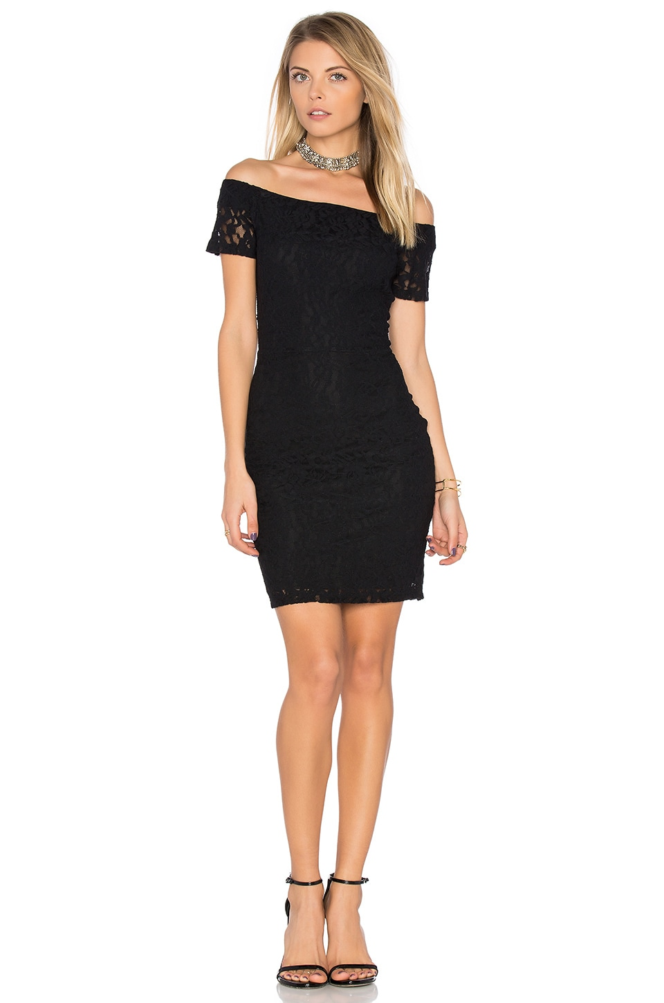 1. STATE Off Shoulder Lace Dress in Rich Black