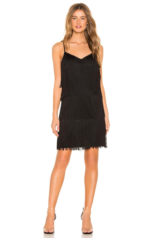 1. STATE Fringe Slip Dress in Rich Black