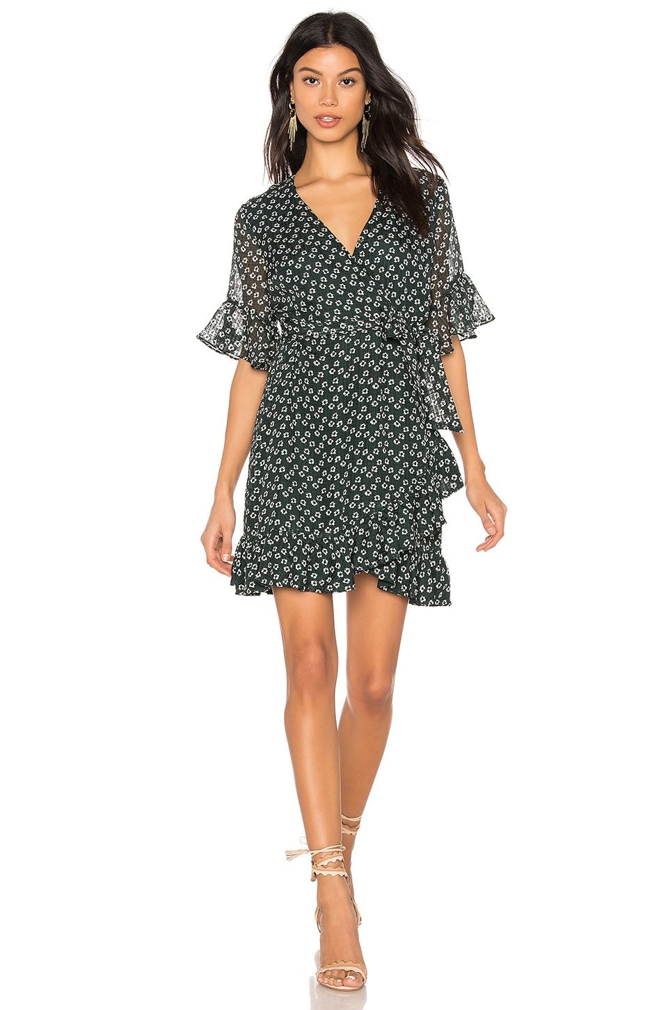 1. STATE Flounce Flower Wrap Dress in Cypress Pine