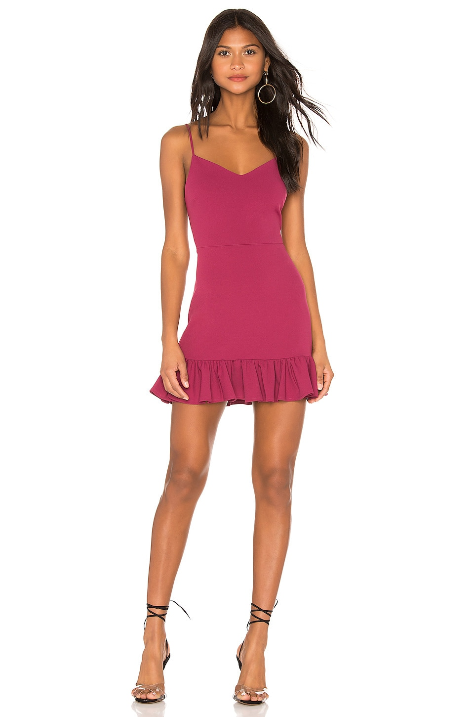 1. STATE Spaghetti Strap Ruffle Hem Dress in Berry