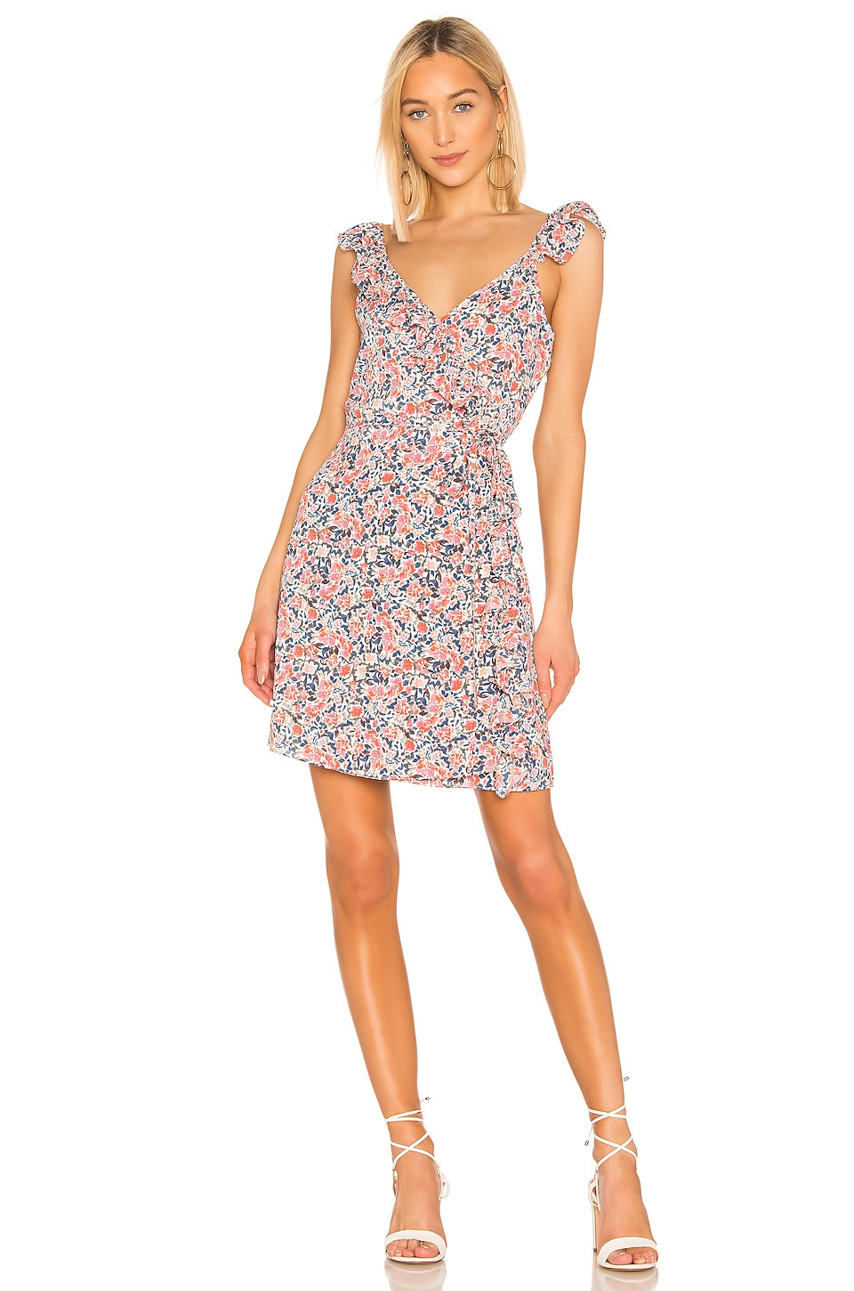1. STATE Ruffle Edge Sunwashed Floral Wrap Dress in Coral Multi