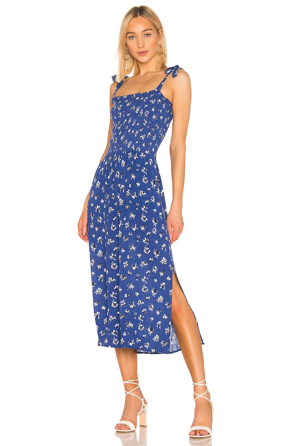 1. STATE Tie Shoulder Smocked Maxi Dress in Yacht Blue