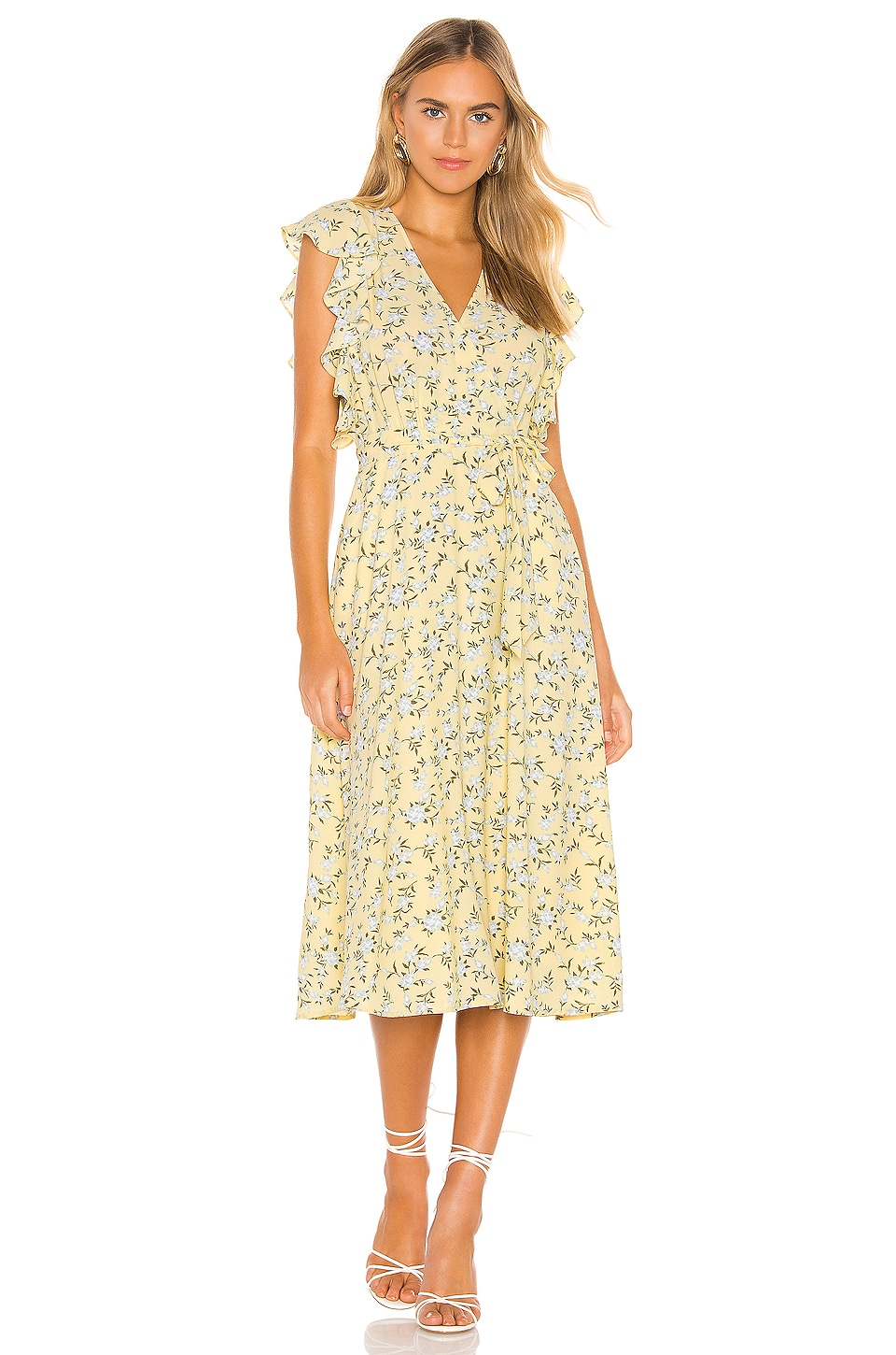 1. STATE Blossom Cluster Flounce Sleeve Wrap Dress in Honeysuckle