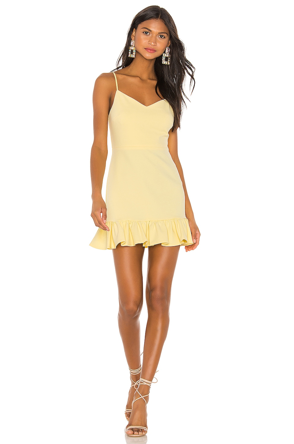 1. STATE Spaghetti Strap Ruffle Hem Slip Dress in Honeysuckle