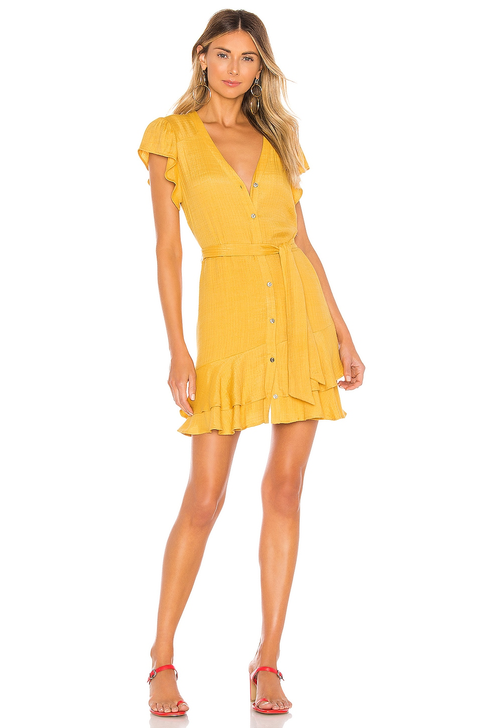 1. STATE Button Down Asymmetrical Ruffle Dress in Gold Sun