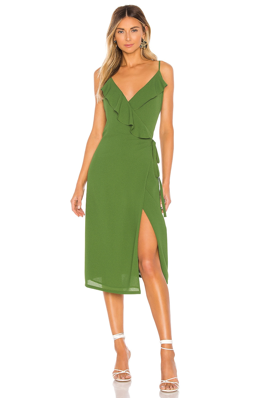 1. STATE Spaghetti Strap Flounce Wrap Dress in Palm Leaf