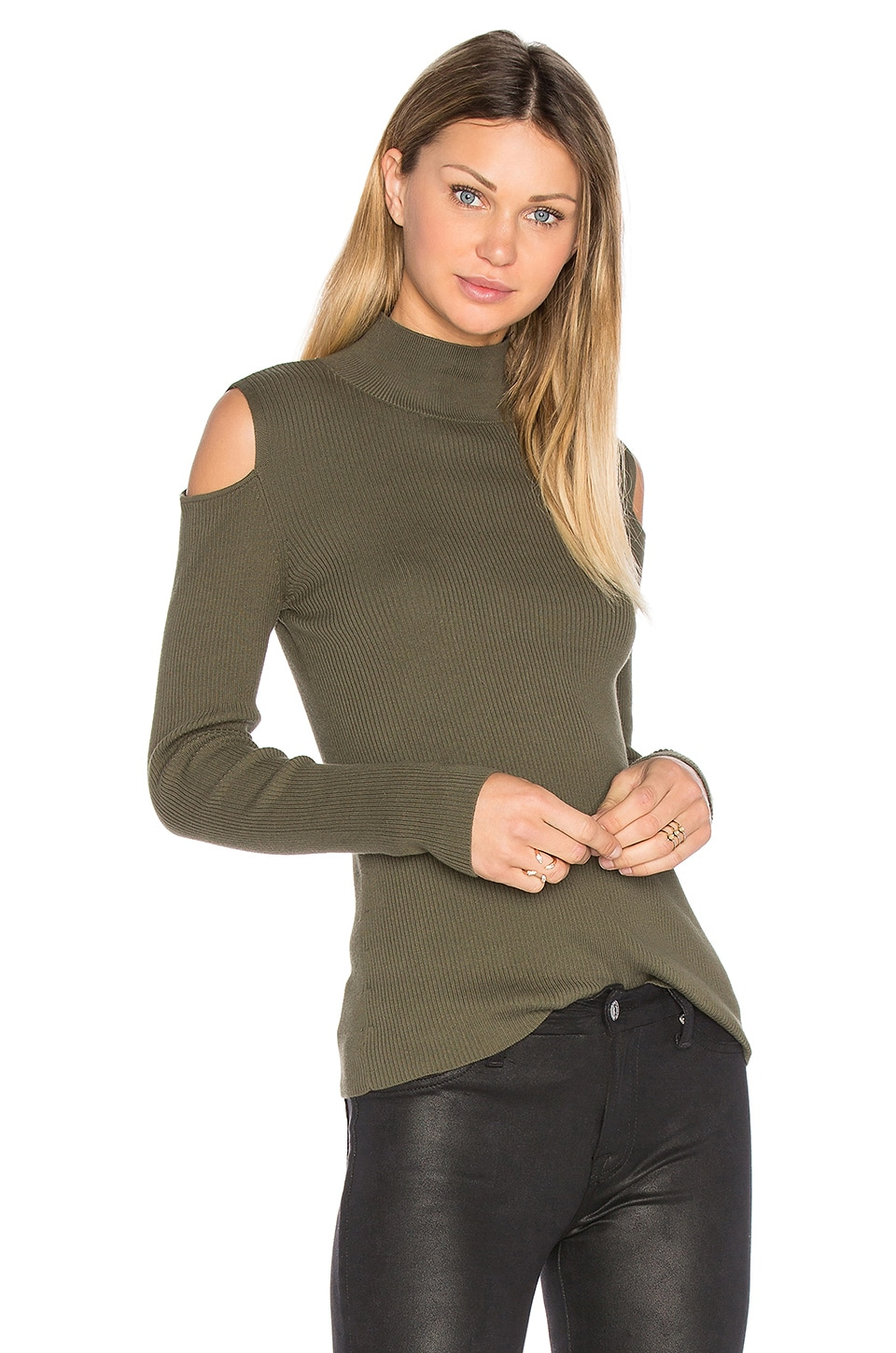 1. STATE Mock Neck Cold Shoulder Sweater in Olive Tree