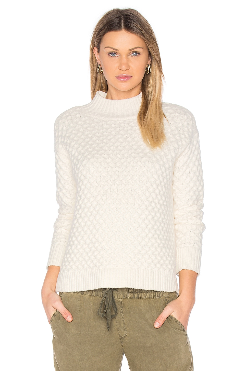 1. STATE Honeycomb Turtleneck Sweater in Chalk | REVOLVE