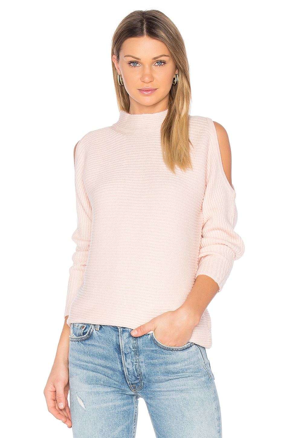 1. STATE Cold Shoulder Sweater in Rose Buff