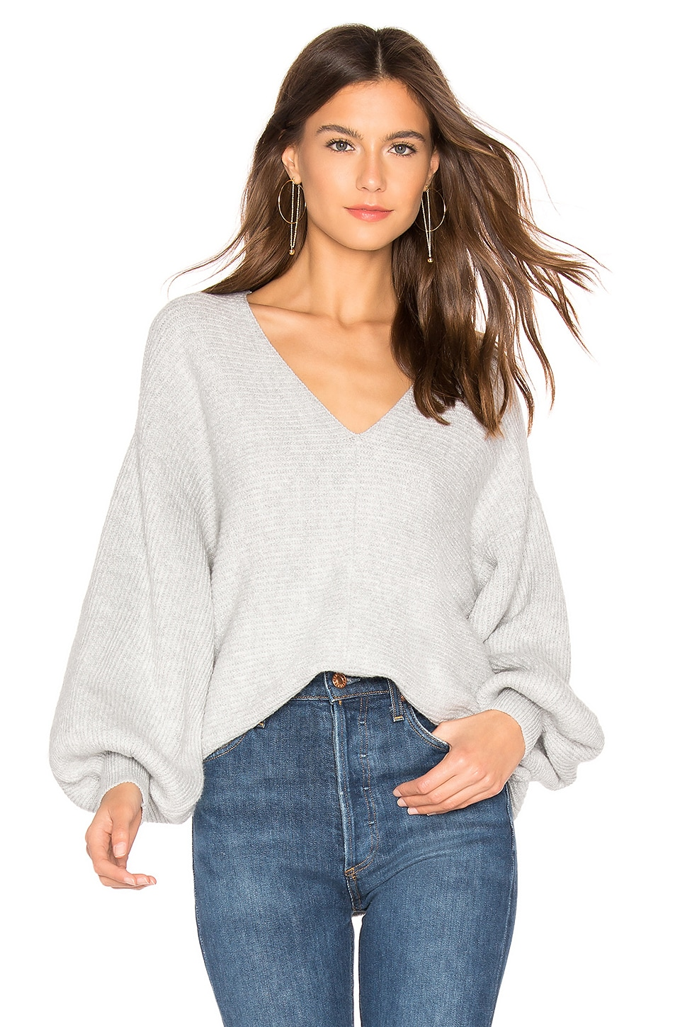 1. STATE Bubble Sleeve Sweater in Heather Grey