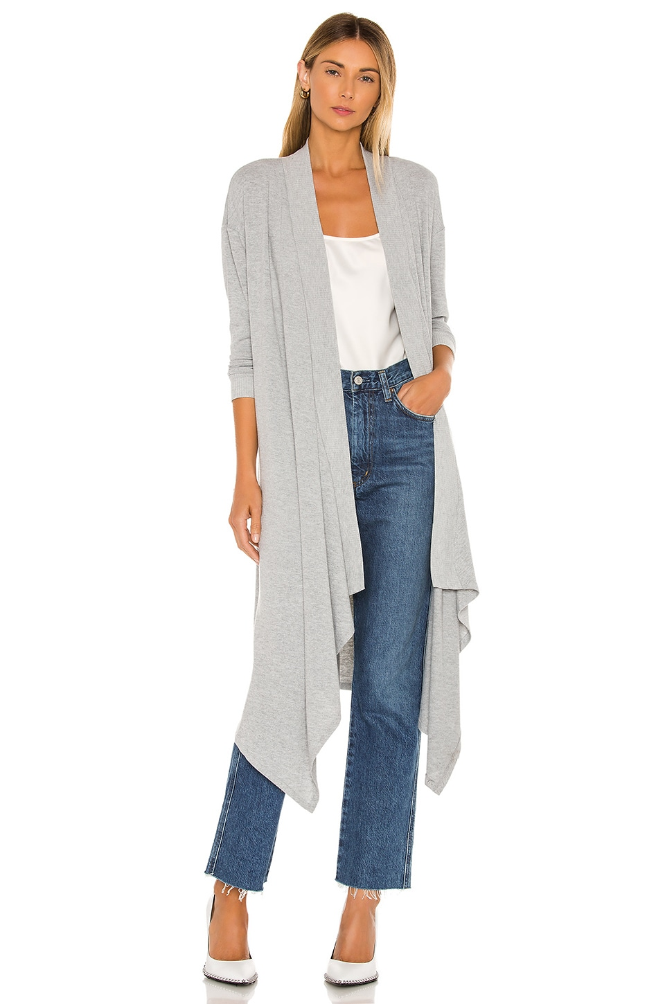 1. STATE Drap Front Maxi Cardigan in Silver Heather