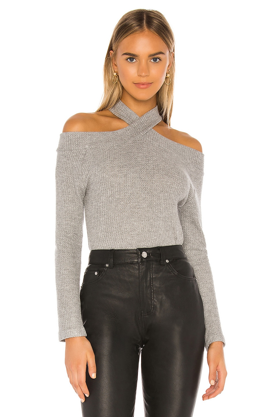 1. STATE Cross Neck Cold Shoulder Crewneck in Silver Heather