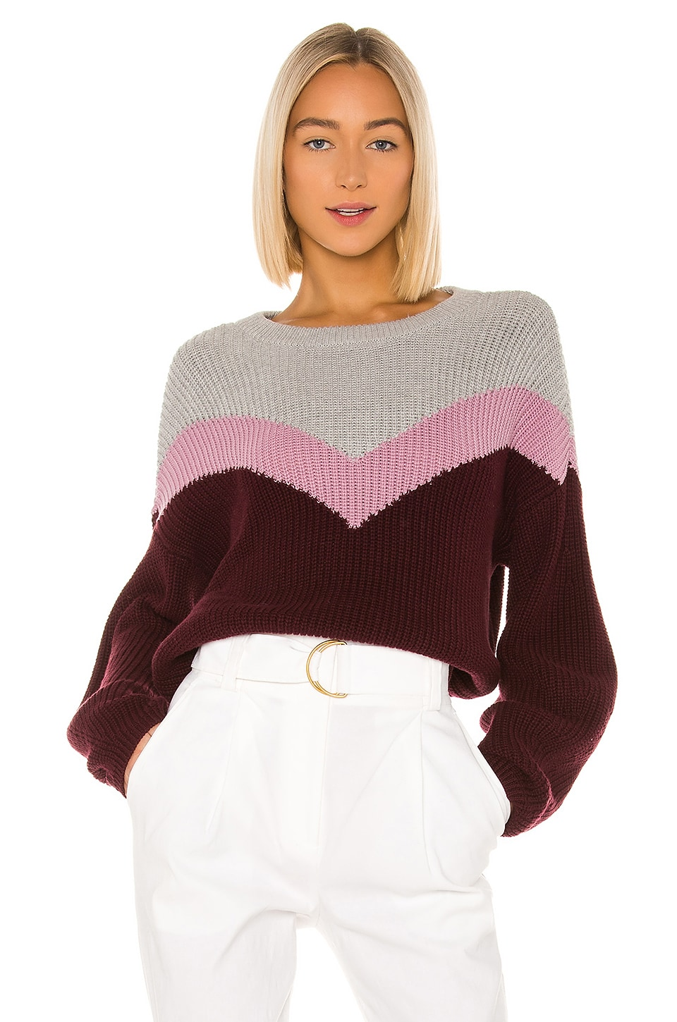 1. STATE Chevron Front Crewneck Sweater in Mahogany
