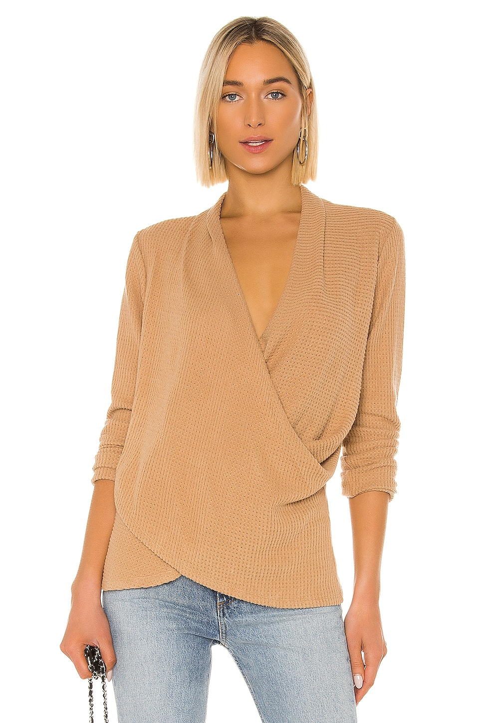 1. STATE Cross Front Brushed Waffle Sweater in Wild Oak