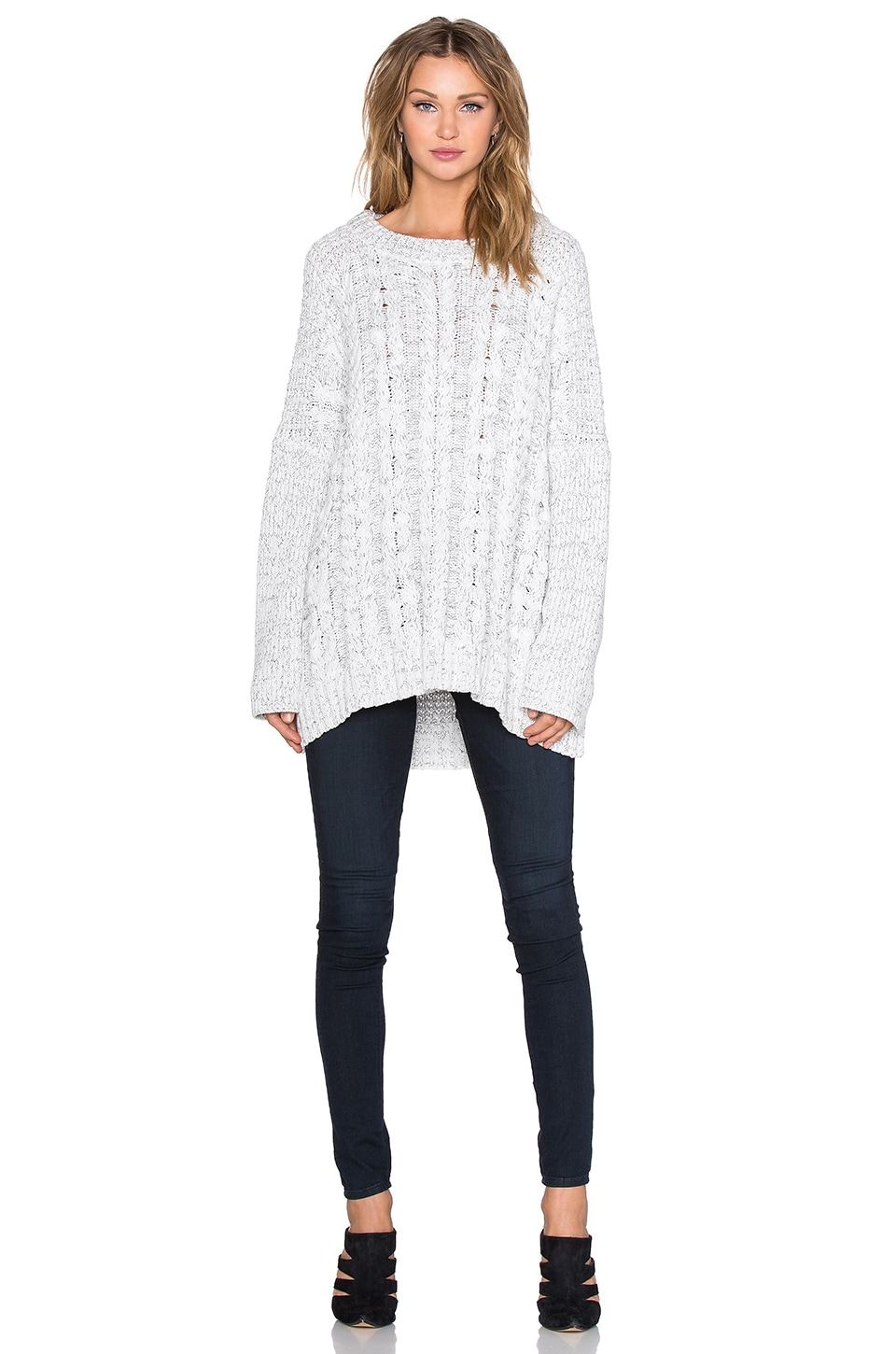 1. STATE Long sleeve Cable Poncho Sweater in Vanilla