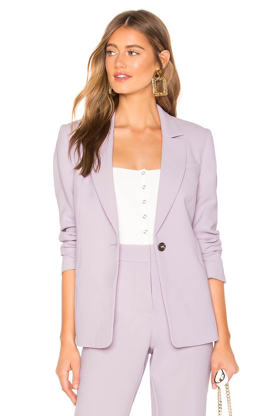 1.state Blazers 1. STATE TEXTURED CREPE ONE BUTTON BLAZER IN LAVENDER.