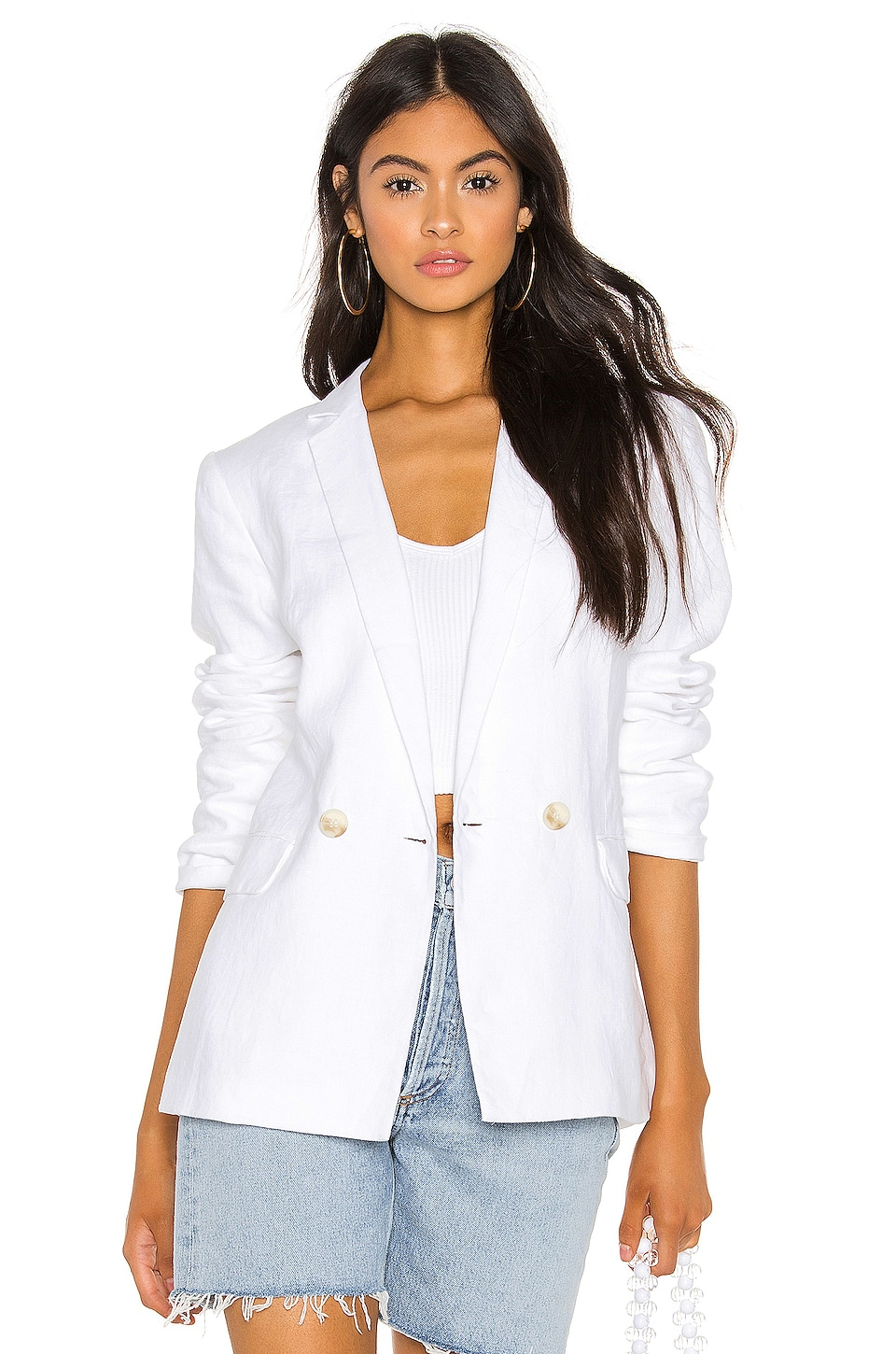1. STATE Relaxed Fit Linen Blazer in Ultra White