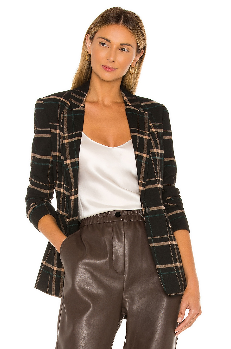 1. STATE One Button Dynamite Plaid Blazer in Rich Black