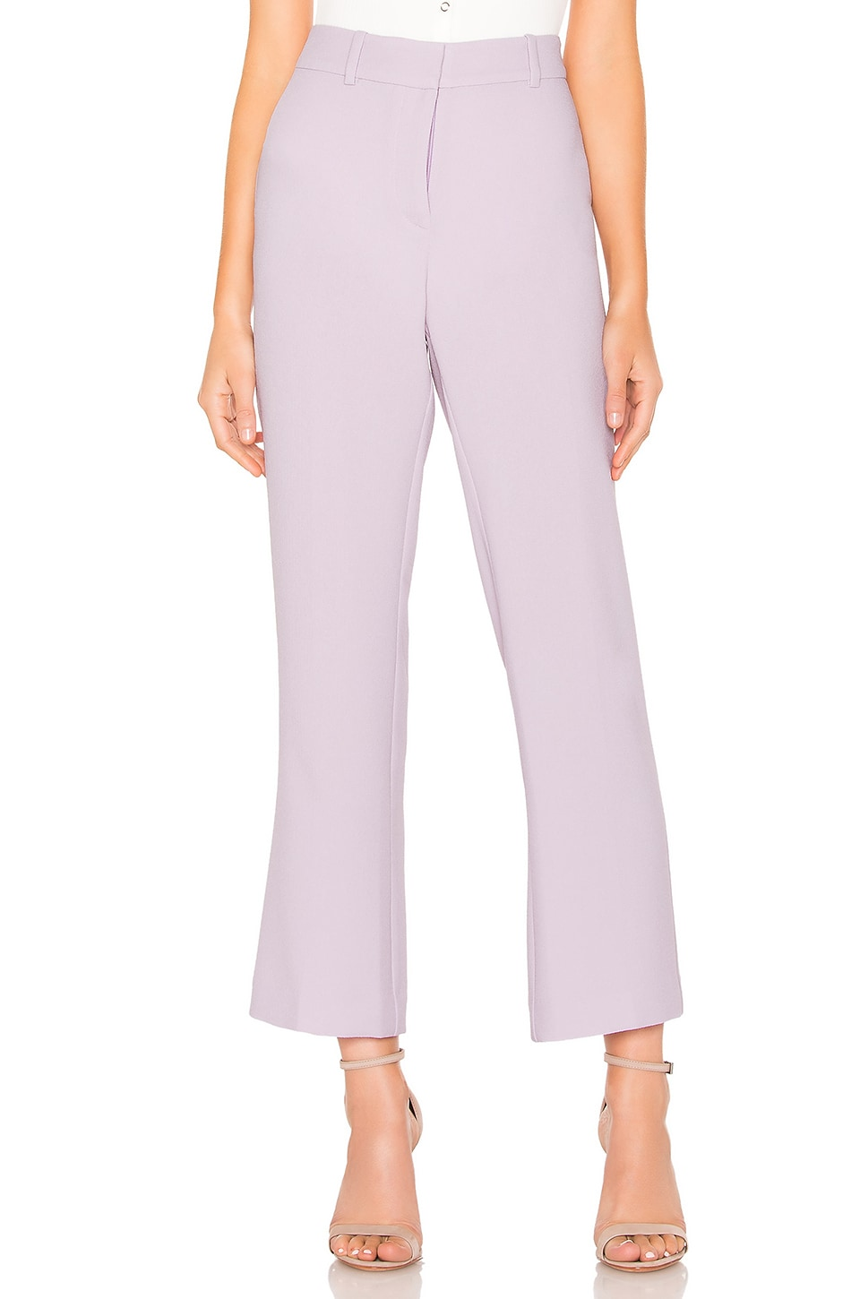 1. STATE Textured Crepe Mini Kick Flare Pant in Orchid Bud