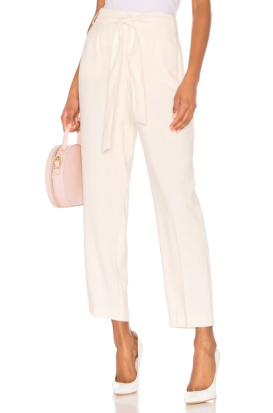 1. STATE Flat Front Tie Waist Slim Pant in White