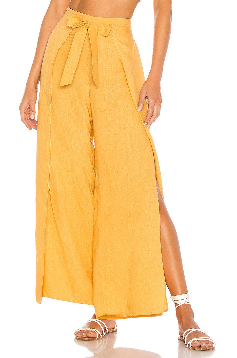1. STATE Tie Front Split Seam Wide Leg Pant in Gold Sun