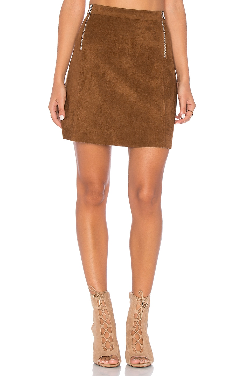 1. STATE A Line Zipper Skirt in Toffee Brown