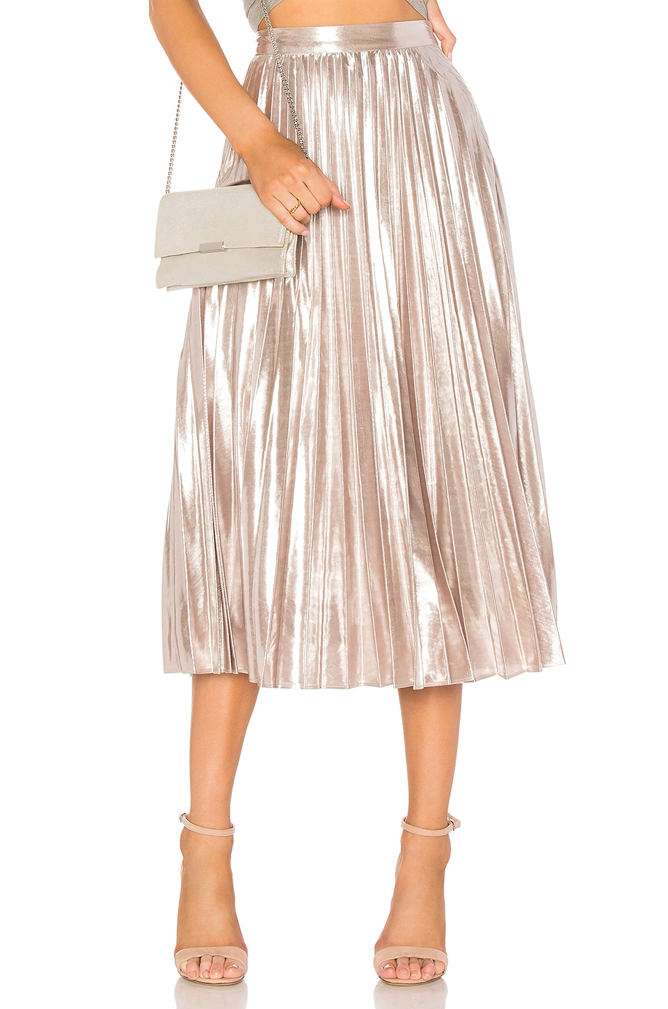 1. STATE Pleated Midi Skirt in Flash Silver