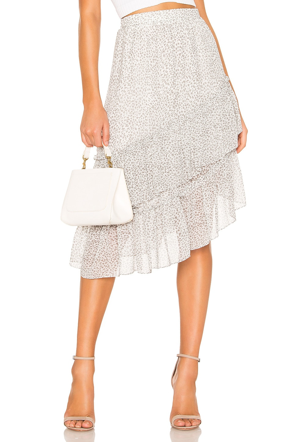 1. STATE Tiered Asymmetrical Chiffon Midi Skirt in New Ivory