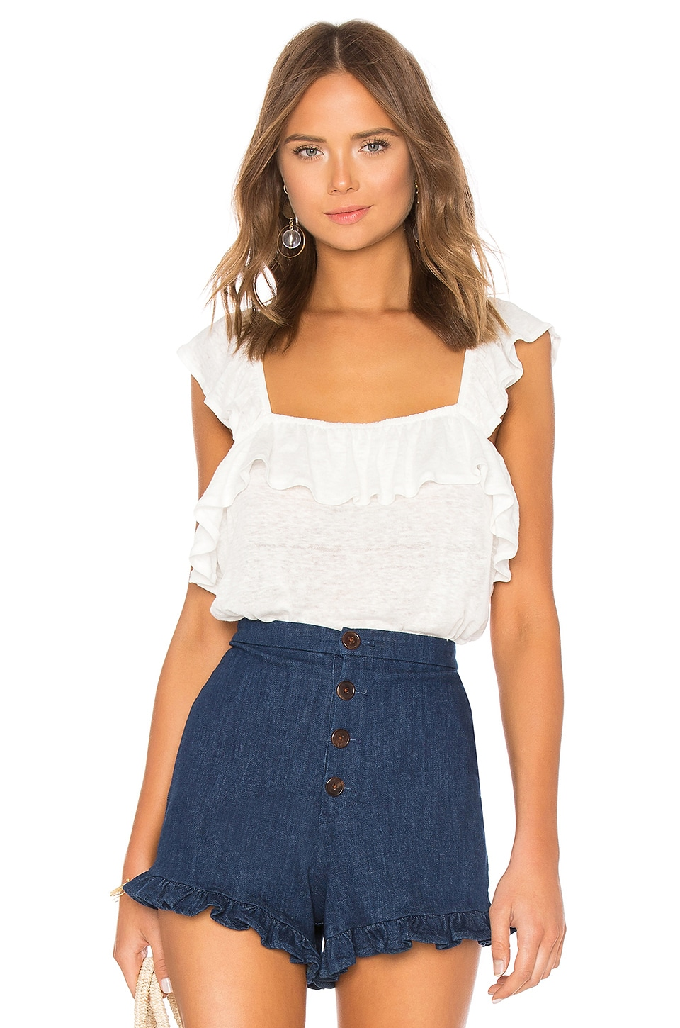 Ruffled Edge Square Neck Ruffle Top